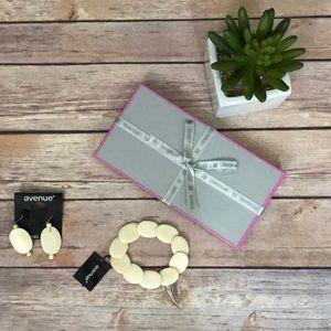 Avenue Cream Colored Earrings & Bracelet Set